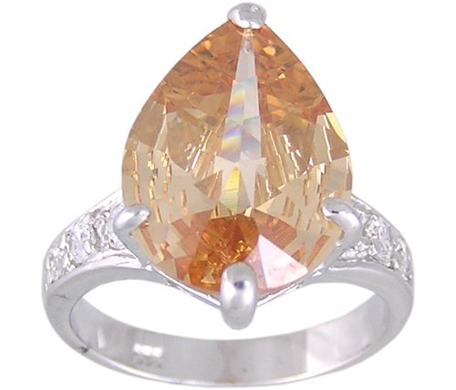 CHAMPAGNE CUBIC ZIRCONIA CZ SILVER RING SIZE 5 or 8