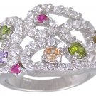 MULTI CUBIC ZIRCONIA CZ SILVER RING SIZE 6 8 or 10