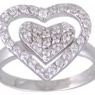CLEAR CUBIC ZIRCONIA CZ SILVER RING SIZE 5 6 8 or 10
