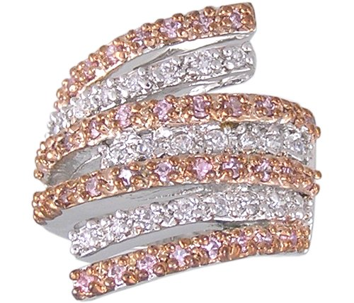 PINK CUBIC ZIRCONIA CZ 2 TONE RING SIZE 6 7 8 or 9
