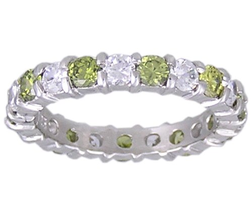 GREEN CUBIC ZIRCONIA CZ SILVER RING SIZE 5 6 or 8