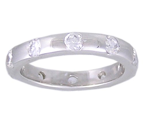CUBIC ZIRCONIA CZ SILVER ETERNITY RING SIZE 6 7 9 or 10