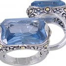 BLUE CUBIC ZIRCONIA CZ 2 TONE RING SIZE 6 7 9 or 10