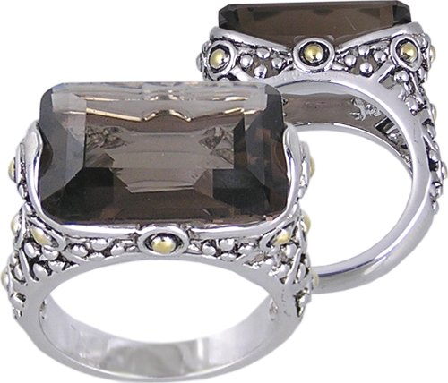 BROWN CUBIC ZIRCONIA CZ 2 TONE RING SIZE 5 7 or 10