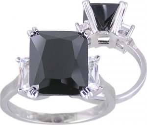 BLACK CZ CUBIC ZIRCONIA RING SIZE 5 6 7 or 8