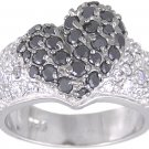 BLACK PAVE CZ SILVER HEART RING SIZE 5 6 7 8 9 or 10