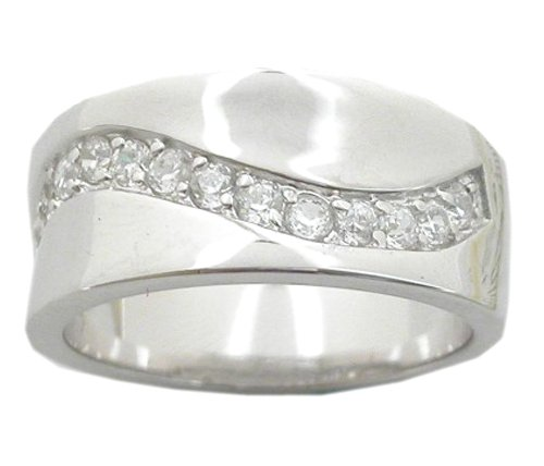 CUBIC ZIRCONIA CZ STERLING SILVER RING SIZE 8 9 or 10
