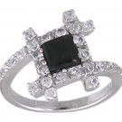 BLACK CUBIC ZIRCONIA CZ 925 SILVER RING SIZE 7
