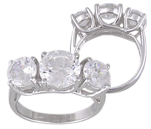 CZ CUBIC ZIRCONIA STERLING SILVER RING SIZE 6 or 9