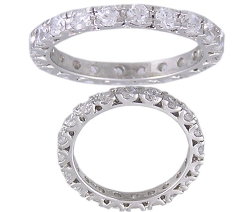 CZ CUBIC ZIRCONIA SILVER ETERNITY RING SIZE 7 8 or 9