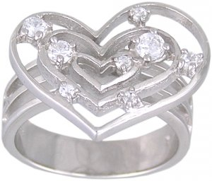 CUBIC ZIRCONIA CZ STERLING SILVER RING SIZE 6 8 or 9