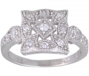 CUBIC ZIRCONIA CZ .925 STERLING SILVER RING SIZE 9