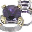 AMETHYST CUBIC ZIRCONIA 2 TONE RING SIZE 5 6 7 8 9 & 10