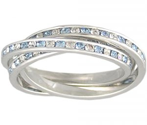 BLUE CZ CUBIC ZIRCONIA ROLLING RING SIZE 5 6 7 9 or 10
