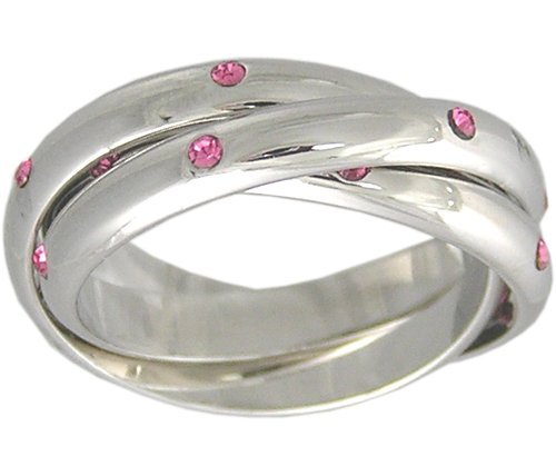 PINK CUBIC ZIRCONIA ROLLING RING SIZE 4 5 6 7 9 10 & 11