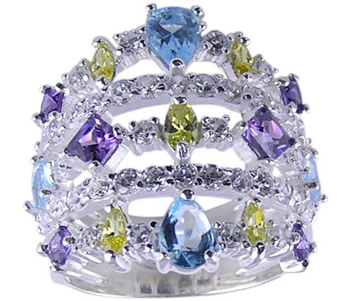 MULTI CUBIC ZIRCONIA CZ STERLING SILVER RING SIZE 5