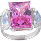 MULTI CUBIC ZIRCONIA CZ 925 SILVER RING SIZE 5 7 8 or 9