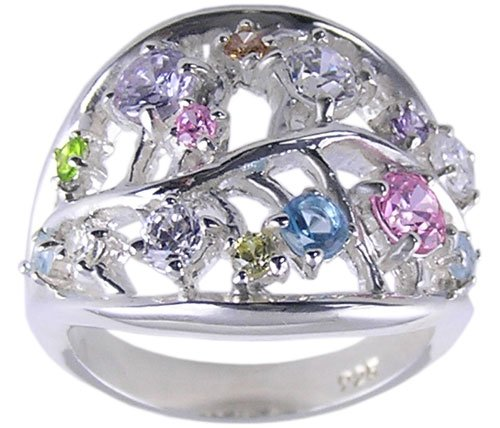 MULTI CUBIC ZIRCONIA CZ 925 SILVER RING SIZE 5 6 7 or 8