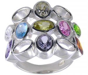 MULTI CUBIC ZIRCONIA STERLING SILVER RING SIZE 6 7 or 8