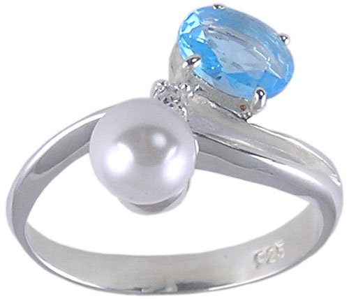 BLUE CZ CUBIC ZIRCONIA SILVER RING SIZE 5 6 7 8 9 or 10
