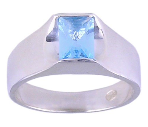 BLUE CZ CUBIC ZIRCONIA STERLING SILVER RING SIZE 7