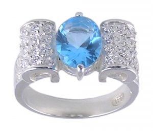 BLUE CUBIC ZIRCONIA CZ SILVER RING SIZE 6 7 8 or 9
