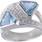 BLUE CUBIC ZIRCONIA CZ .925 SILVER RING SIZE 6 7 or 9