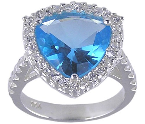 BLUE CUBIC ZIRCONIA CZ SILVER RING SIZE 5 7 8 9 or 10