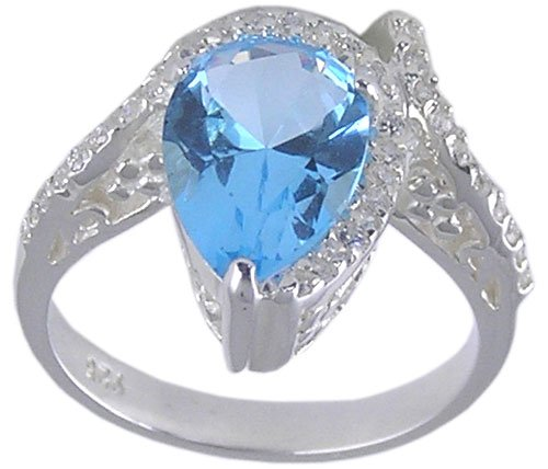 BLUE CUBIC ZIRCONIA STERLING SILVER RING SIZE 5 6 7 & 8