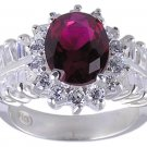 RUBY RED CUBIC ZIRCONIA CZ SILVER RING SIZE 6 or 7