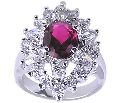 RUBY RED CUBIC ZIRCONIA CZ RING SIZE 5 6 or 7 JEWELRY