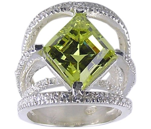 YELLOW CUBIC ZIRCONIA CZ 925 SILVER RING SIZE 6 7 8 or 10