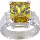 YELLOW CUBIC ZIRCONIA CZ SILVER RING SIZE 5 7 or 10
