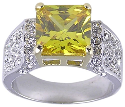 YELLOW CUBIC ZIRCONIA CZ SILVER RING SIZE 9 or 10