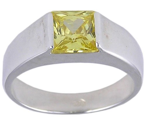 YELLOW CUBIC ZIRCONIA CZ STERLING SILVER RING SIZE 8