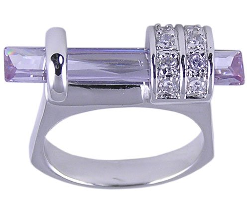 PURPLE CUBIC ZIRCONIA CZ RING SIZE 6 JEWELRY