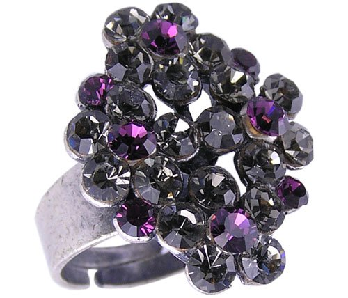 PURPLE SWISS CRYSTAL RING ADJUSTS TO SIZE 6 7 and 8
