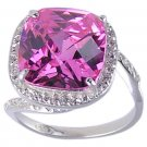 PINK CUBIC ZIRCONIA CZ 925 SILVER RING SIZE 7 8 or 10