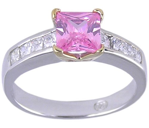 PINK CUBIC ZIRCONIA CZ SILVER 2 TONE RING SIZE 7 or 8