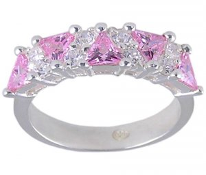 PINK CUBIC ZIRCONIA CZ STERLING SILVER RING SIZE 7
