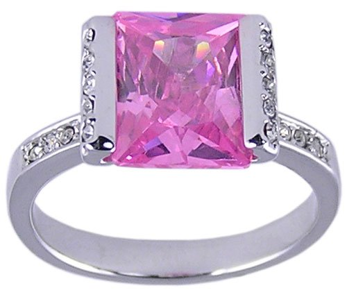 PINK CUBIC ZIRCONIA CZ RING SIZE 7 8 or 10 JEWELRY