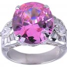 PINK CUBIC ZIRCONIA STERLING SILVER RING SIZE 5 8 or 9