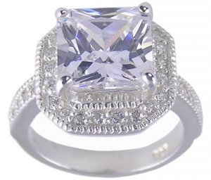 CUBIC ZIRCONIA CZ .925 STERLING SILVER RING SIZE 6 or 9