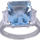 BLUE CUBIC ZIRCONIA CZ SILVER RING SIZE 5 6 7 or 10