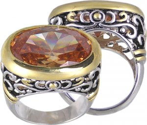 CHAMPAGNE CUBIC ZIRCONIA CZ RING SIZE 5 7 or 8 JEWELRY