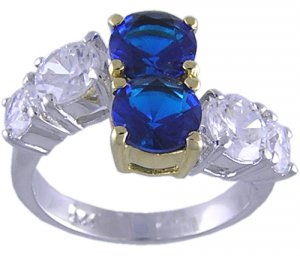 SAPPHIRE BLUE CUBIC ZIRCONIA CZ SILVER RING SIZE 5 & 8
