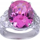 PINK CUBIC ZIRCONIA CZ SILVER RING SIZE 5 6 7 or 9
