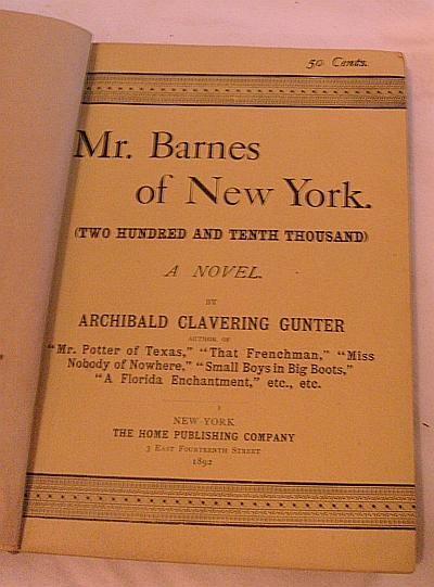 VERY OLD Mr. Barnes In NY Book! Antique! RARE and HTF!
