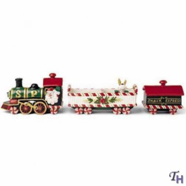 Fitz And Floyd Yuletide Holiday Train Snack Set New In Box/Unused