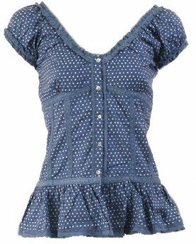 Blue Polka Dot Cap Sleeve Top Small